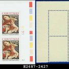 1989 USA MNH Sc# 2427 Plate# Block of Four – 25c Madonna and Child - 1989 Christmas Issue
