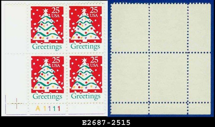 1990 USA MNH Sc# 2515 Plate# Block of Four � 25c Christmas Tree - 1990 Christmas Issue