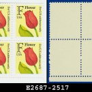 1991 USA MNH Sc# 2517 Plate# Block of Four – F rate Red Tulip - 1991 Regular Issue
