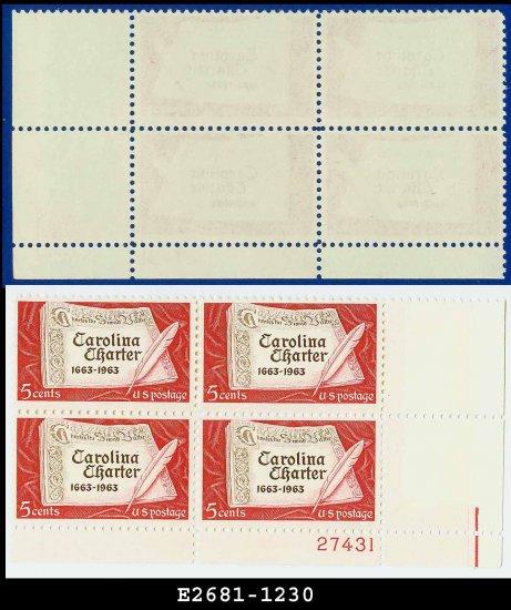 1963 USA MNH Sc# 1230 Plate# Block of Four � 5c Carolina Charter � 1963 Commemoratives