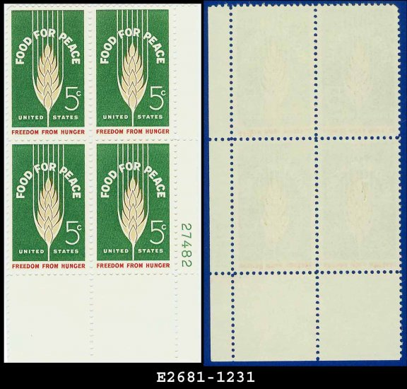 1963 USA MNH Sc# 1231 Plate# Block of Four � 5c Stalk of Wheat  � 1963 Food for Peace