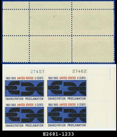 1963 USA MNH Sc# 1233 Plate# Block of Four � 5c Emancipation Proclamation  � 1963 Commemoratives