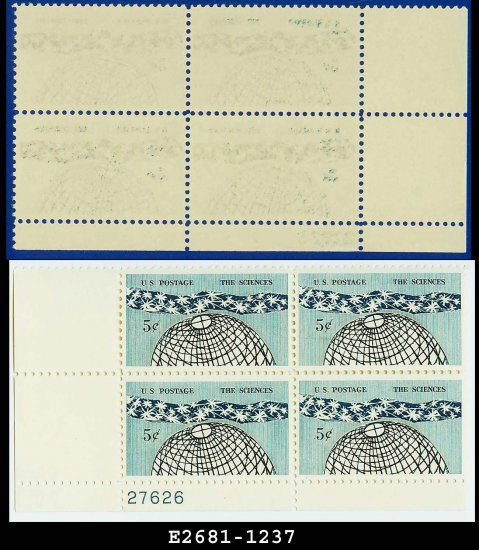 1963 USA MNH Sc# 1237 Plate# Block of Four � 5c The Universe  � 1963 Science