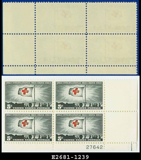 1963 USA MNH Sc# 1239 Plate# Block of Four � 5c Red Cross Centennial  � 1963 Commemoratives