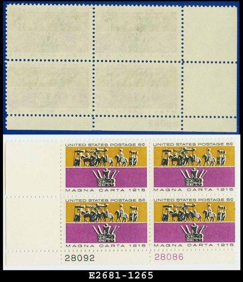 1965 USA MNH Sc# 1265 Pl# Block of Four � 5c Barons & King John�s Crown � Magna Carta Issue