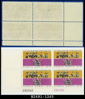 1965 USA MNH Sc# 1265 Pl# Block of Four � 5c Barons & King John�s Crown � Magna Carta Issue