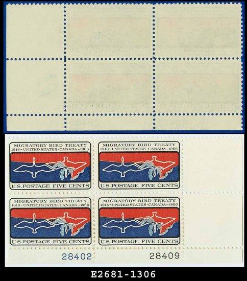 1966 USA MNH Sc# 1306 Plate# Block of Four � 5c Migratory Bird Treaty � 1966 Commemoratives