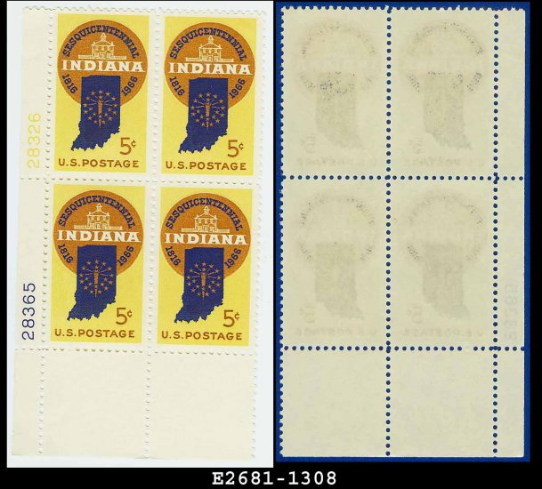 1966 USA MNH Sc# 1308 Plate# Block of Four � 5c Indiana Statehood � 1966 Commemoratives
