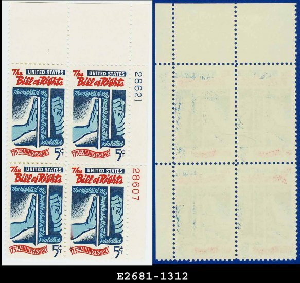 1966 USA MNH Sc# 1312 Plate# Block of Four � 5c Bill of Rights � 1966 Commemoratives