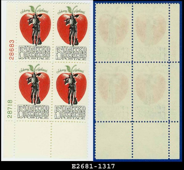 1966 USA MNH Sc# 1317 Plate# Block of Four � 5c Johnny Appleseed � 1966 American Folklore Issue