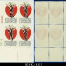 1966 USA MNH Sc# 1317 Plate# Block of Four – 5c Johnny Appleseed – 1966 American Folklore Issue