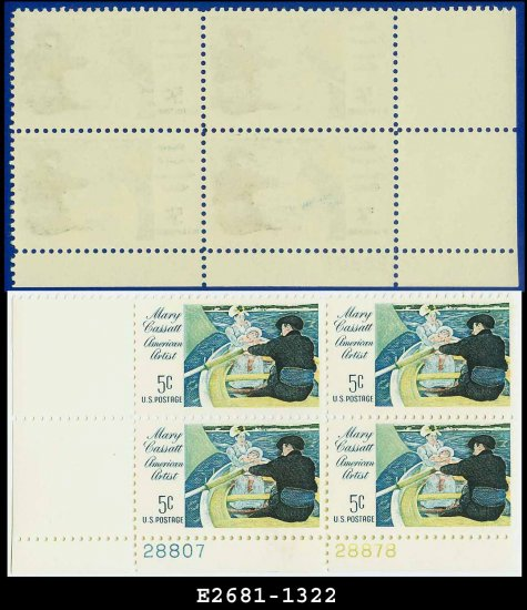 1966 USA MNH Sc# 1322 Plate# Block of Four � 5c The Boating Party � 1966 Mary Cassatt