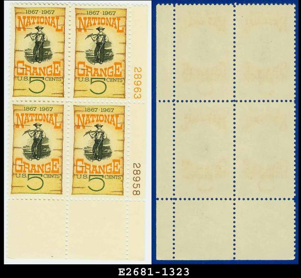 1967 USA MNH Sc# 1323 Plate# Block of Four � 5c Grange Poster � 1967 National Grange 100 Years
