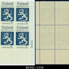 1967 USA MNH Sc# 1334 Plate# Block of Four – 5c Finnish Coat of Arms – 1967 Finnish Independence