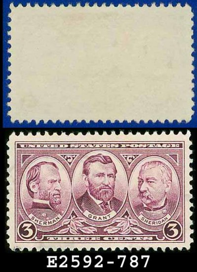 1936-37 USA USED Scott# 787 � 3c Sherman, Grant, & Sheridan � Army-Navy War Heroes Issue