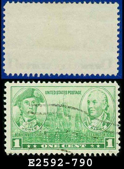 1936-37 USA USED Scott# 790 � 1c Jones & Barry � Army-Navy War Heroes Issue
