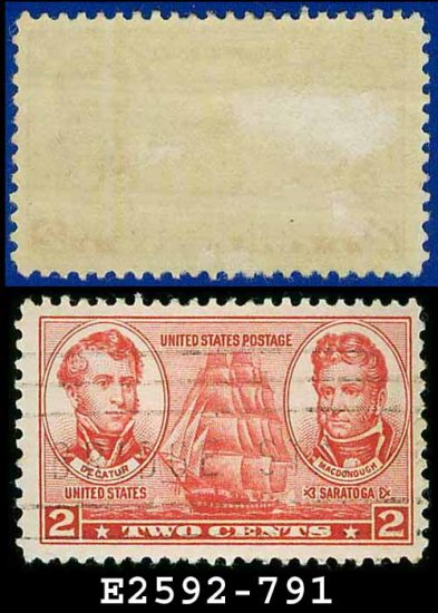 1936-37 USA USED Scott# 791 � 2c Decatur & MacDonough � Army-Navy War Heroes Issue