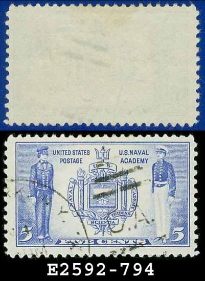 1936-37 USA USED Scott# 794 � 5c Seal of US Naval Academy � Army-Navy War Heroes Issue