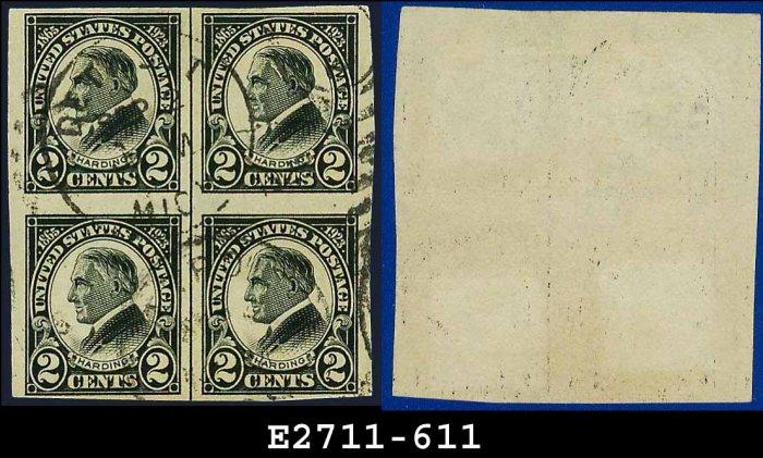 1923 USA NH Scott# 611 USED Block of Four � 2c W G Harding � Harding Memorial Series