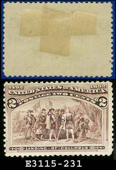 1893 USA UNUSED Scott# 231 � 2c Landing of Columbus � 1893 Columbians