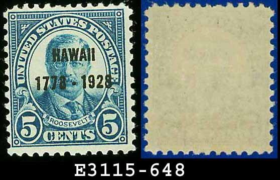 1928 USA UNUSED Scott# 648 � 2c Discovery of Hawaii Blue T Roosevelt � 1928 Hawaii Overprint