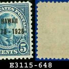 1928 USA UNUSED Scott# 648 – 2c Discovery of Hawaii Blue T Roosevelt – 1928 Hawaii Overprint