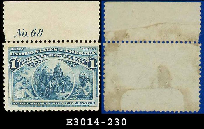 1893 USA UNUSED Scott# 230 � 1c Columbus in Sight of Land � 1893 Columbians