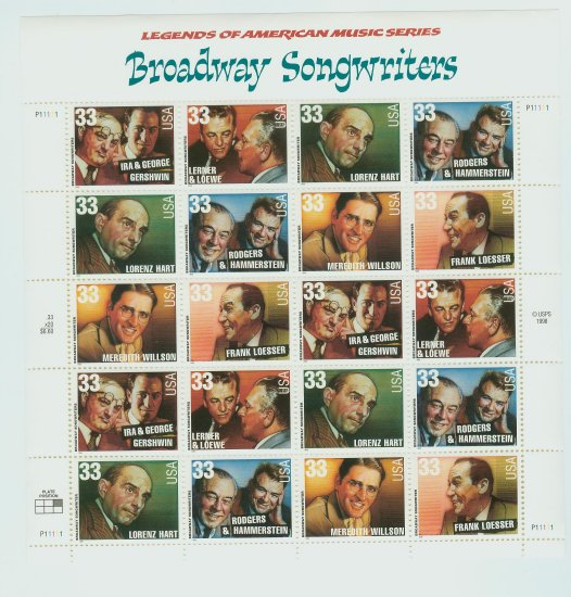 1999 USA MNH UNUSED Scott# 3345-50 � 33c Broadway Songwriters Sheet of 30 Stamps E2703