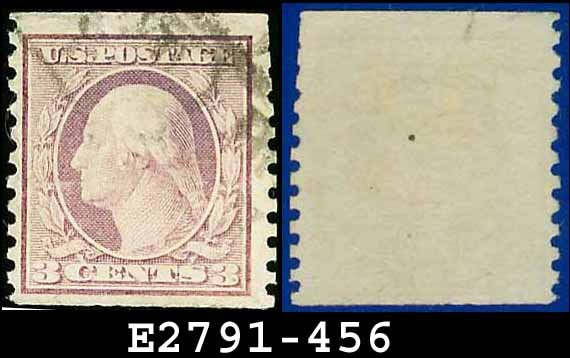 1914-16 USA USED Scott# 456 � 3c Violet Washington  � 1914-16 Vertically Perforated Coil Stamps