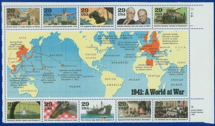 1991 USA MNH UNUSED Scott# 2559 � 1941 WWII Souvenir Sheet E3145
