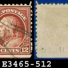 1917-19 USA USED Scott# 512 – 12c Claret Brown Franklin – 1917-19 Regular Issue