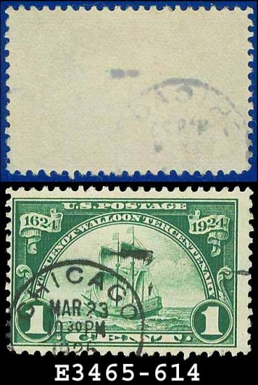 1924 USA USED Scott# 614 � 1c Ship Nieu Nederland � Huguenot-Walloon Issue