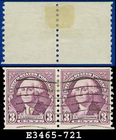 1932 USA USED Scott# 721 � 3c Deep Violet Washington Coil Pair � 1932 Rotary Coil Stamps