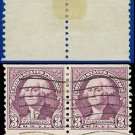 1932 USA USED Scott# 721 – 3c Deep Violet Washington Coil Pair – 1932 Rotary Coil Stamps