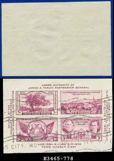 1936 USA USED Sc# 778 � 3c Violet Sht of 4 � 1936 3rd International Philatelic Exhibition E3465