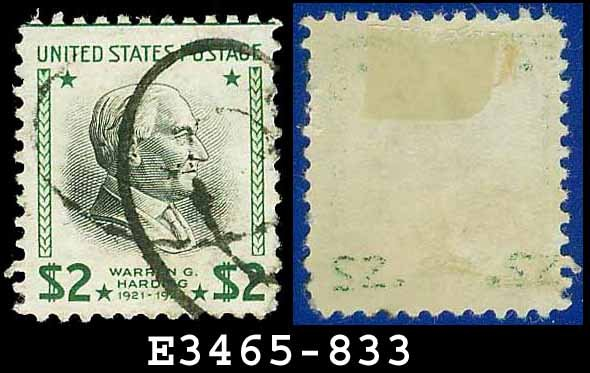 1938 USA USED Scott# 833 � $2 W Harding � 1938 Presidential Series