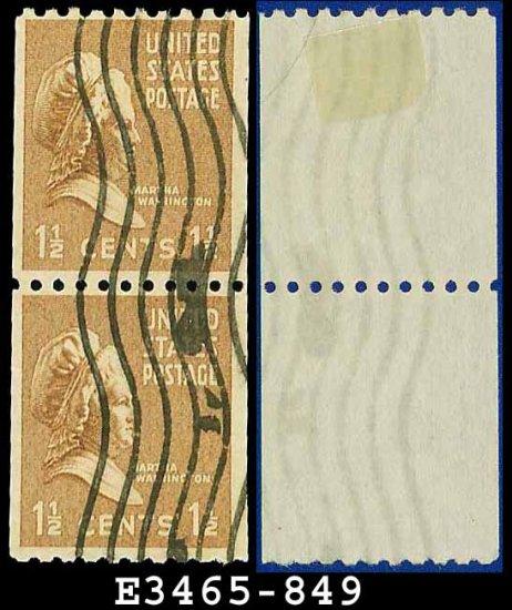 1939 USA USED Scott# 849 � 1 1/2c Martha Washington Coil Pair � 1939 Rotary Coil Stamps