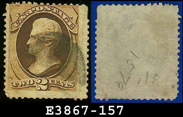 1873 USA USED Scott# 157 � 2c Brown Jackson � 1873 Continental Bank Note Printing
