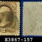 1873 USA USED Scott# 157 – 2c Brown Jackson – 1873 Continental Bank Note Printing
