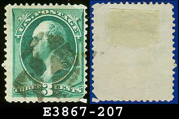 1881-82 USA USED Scott# 207 � 3c Green Washington � 1881-82 American Bank Note Printing