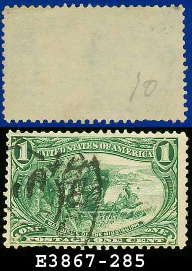 1898 USA USED Scott# 285 � 1c Marquette on the Mississippi � Trans-Mississippi Series