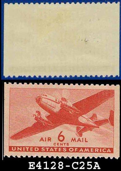 1941-44 USA UNUSED C25 � 6c Carmine Twin-Motored Transport Plane � 1941-44 Airmail Issue