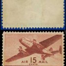 1941-44 USA UNUSED C28 – 15c Brown Carmine Twin-Motored Transport Plane – 1941-44 Airmail Issue