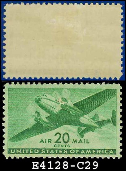 1941-44 USA UNUSED C29 � 20c Green Twin-Motored Transport Plane � 1941-44 Airmail Issue