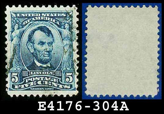 1902-03 USA USED Scott# 304 � 5c Lincoln 16th US President � 1902-03 Regular Series Perf 12