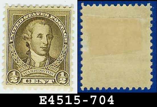 1932 USA UNUSED Scott# 704 � 1/2c Olive Brown Washington - 1932 Washington Bicentennial Issue
