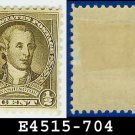 1932 USA UNUSED Scott# 704 – 1/2c Olive Brown Washington - 1932 Washington Bicentennial Issue