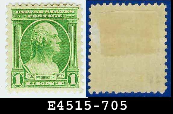 1932 USA UNUSED Scott# 705 � 1c Green Washington - 1932 Washington Bicentennial Issue