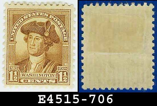 1932 USA UNUSED Scott# 706 � 1 1/2c Brown Washington - 1932 Washington Bicentennial Issue