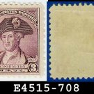 1932 USA UNUSED Scott# 708 – 3c Deep Violet Washington - 1932 Washington Bicentennial Issue